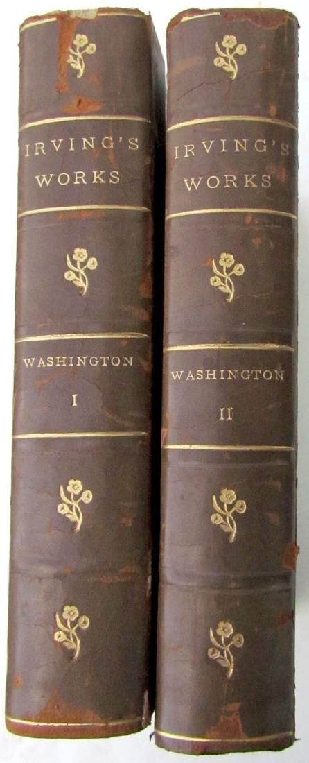 2 Volumes Antique Irving's Works Decorative Leather