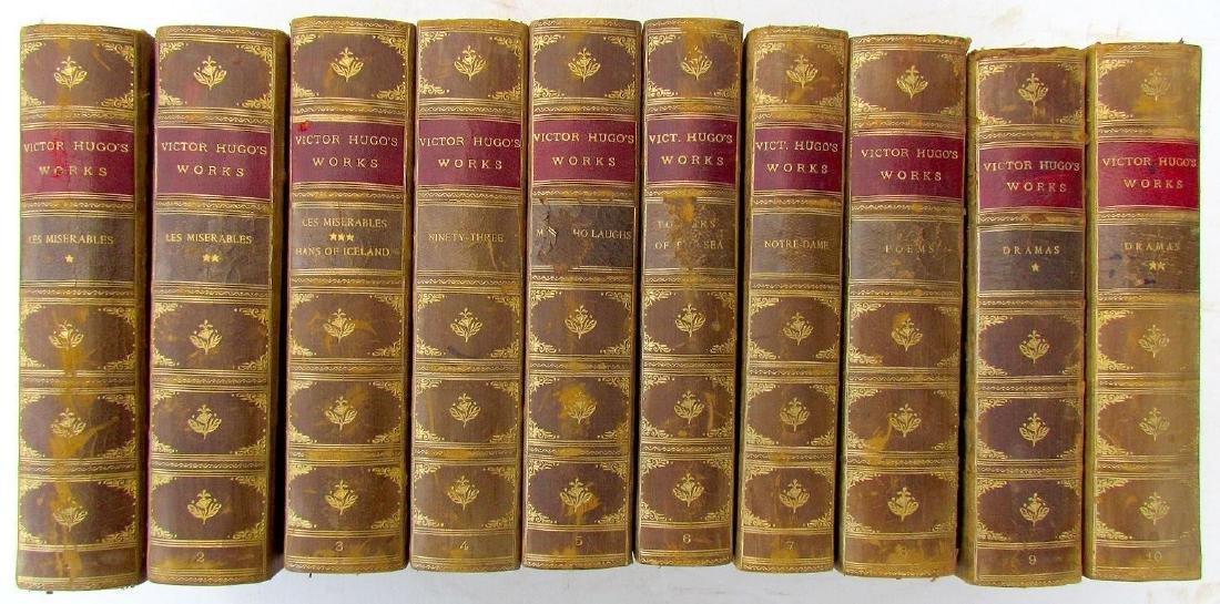 10 Volumes Antique Victor Hugo Works Decorative Leather