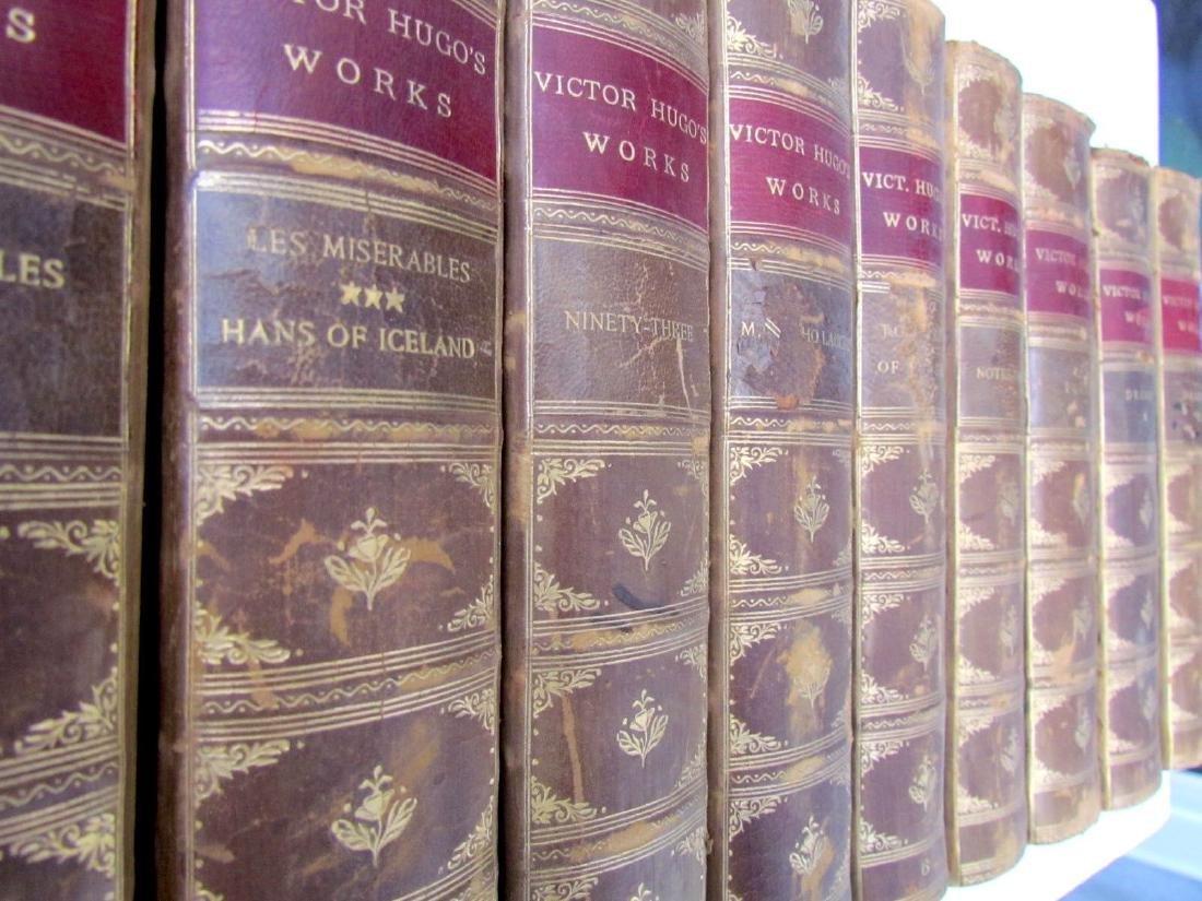 10 Volumes Antique Victor Hugo Works Decorative Leather - 2