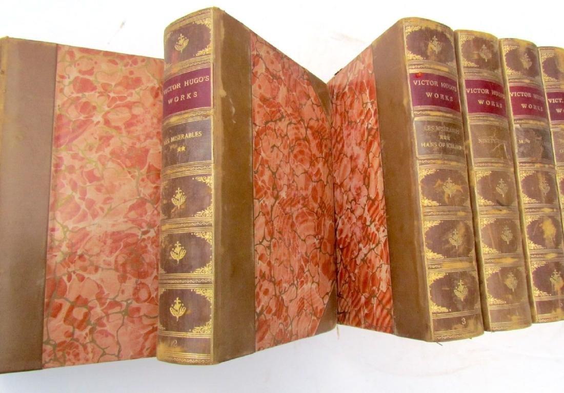 10 Volumes Antique Victor Hugo Works Decorative Leather - 3