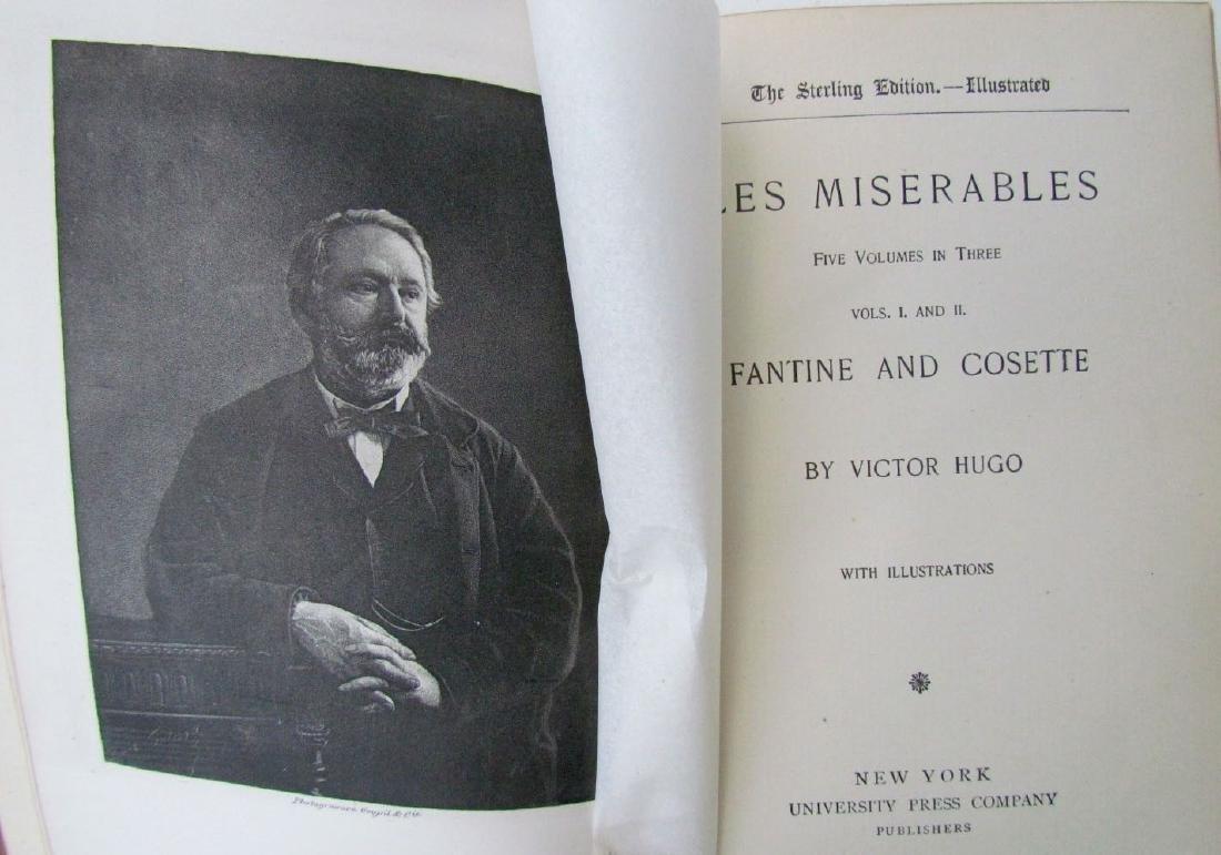 10 Volumes Antique Victor Hugo Works Decorative Leather - 4