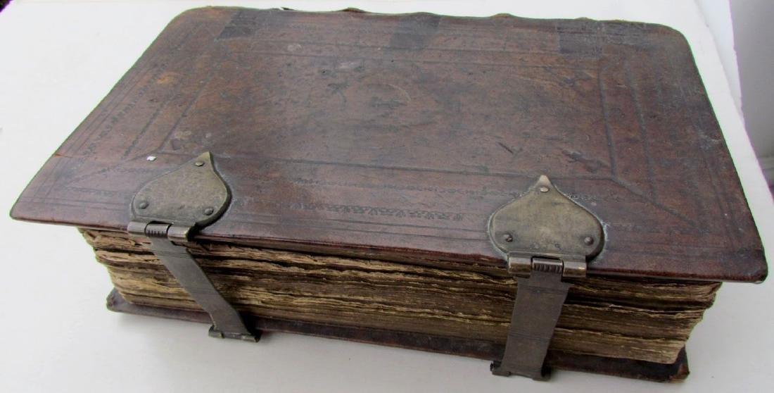 1641 Antique Dutch Folio Bible W/ Maps Leather Bound