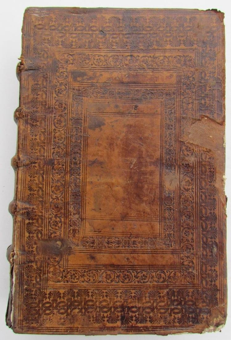 1617 Antique Leather Bound Folio Commentaria in Omnes