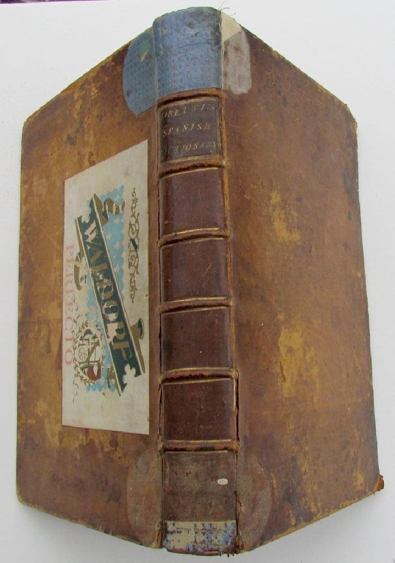 1778 Antique Leather Bound Folio Spanish English