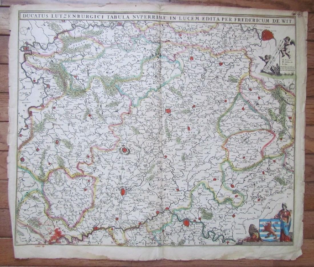 1680 Antique Map of Luxemburg by Frederik De Witt
