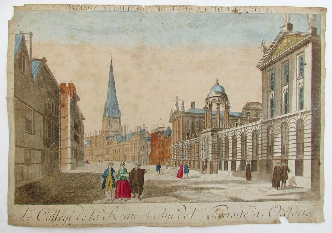 Antique 18th Century University Oxford Copper Engraving