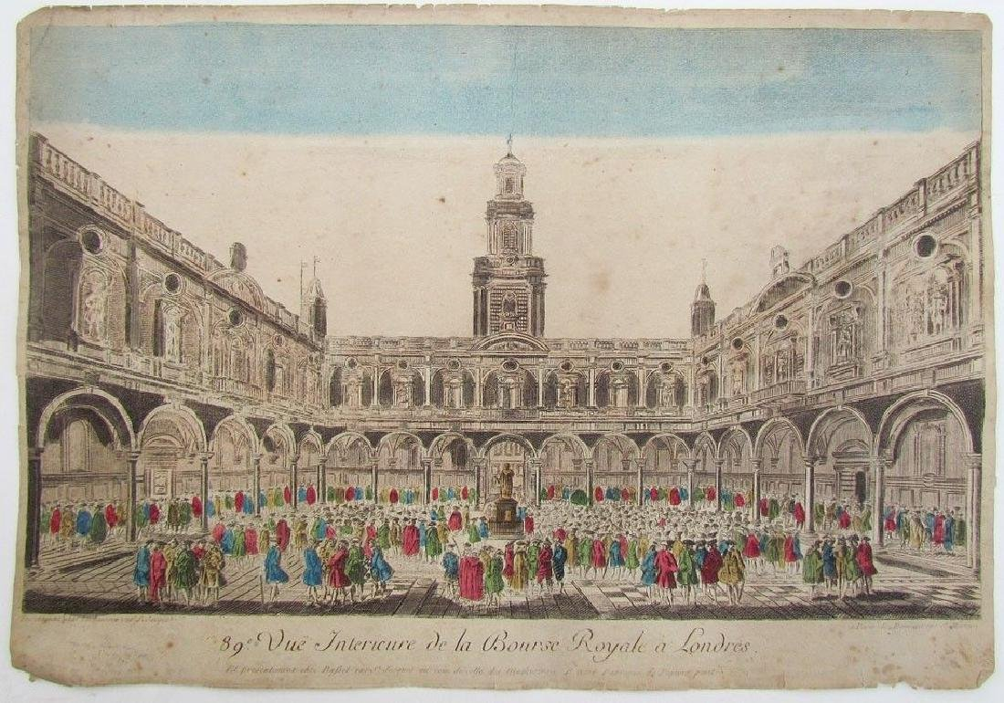 Antique 18th C London Stock Exchange French Engraving