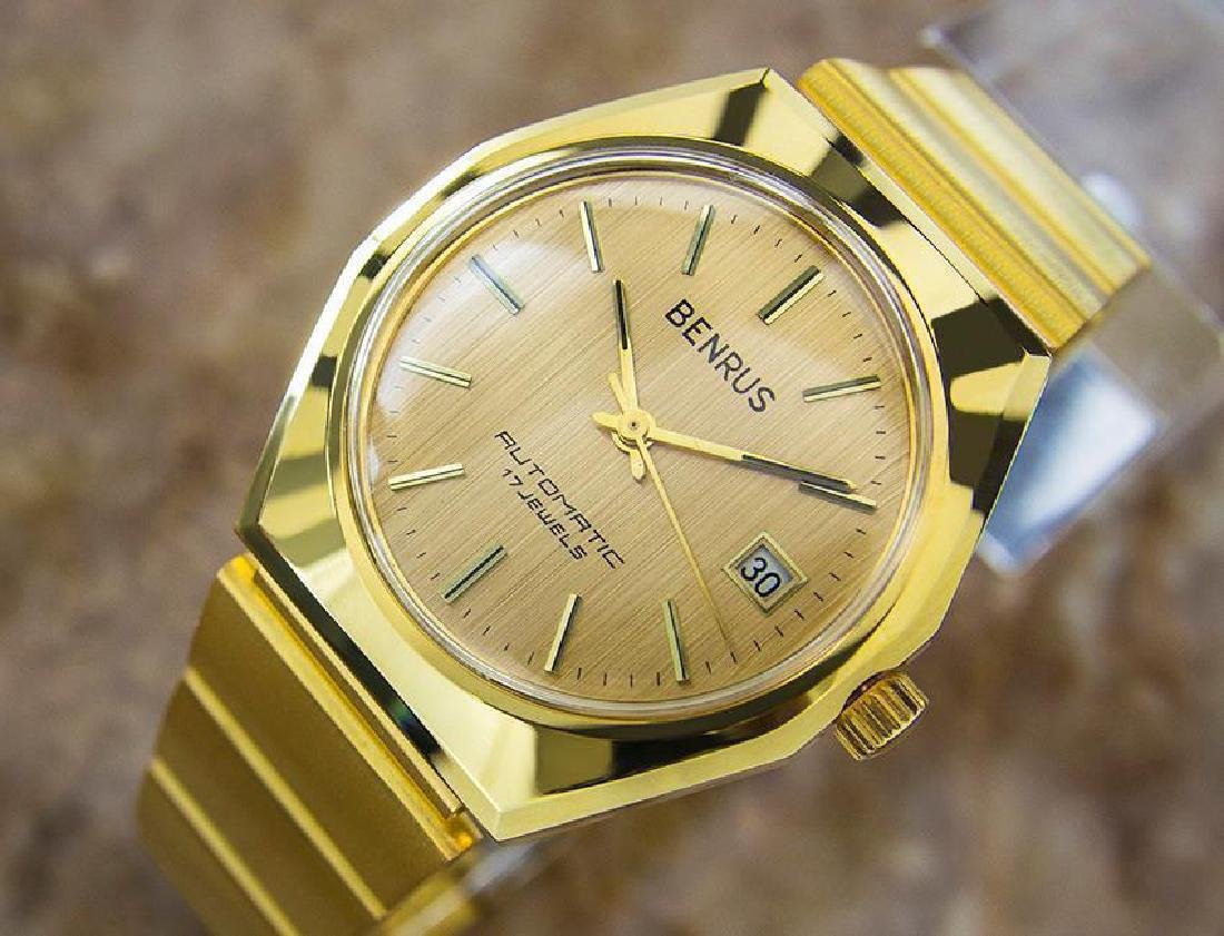 Swiss Made Benrus Luxury Automatic Gold Plated Watch - 2
