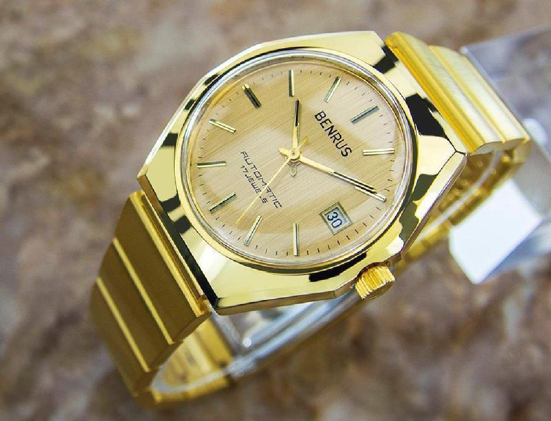 Swiss Made Benrus Luxury Automatic Gold Plated Watch - 3