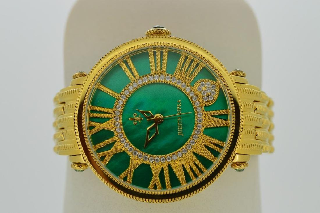 Judith Ripka Ladies Wristwatch with Green and Gold