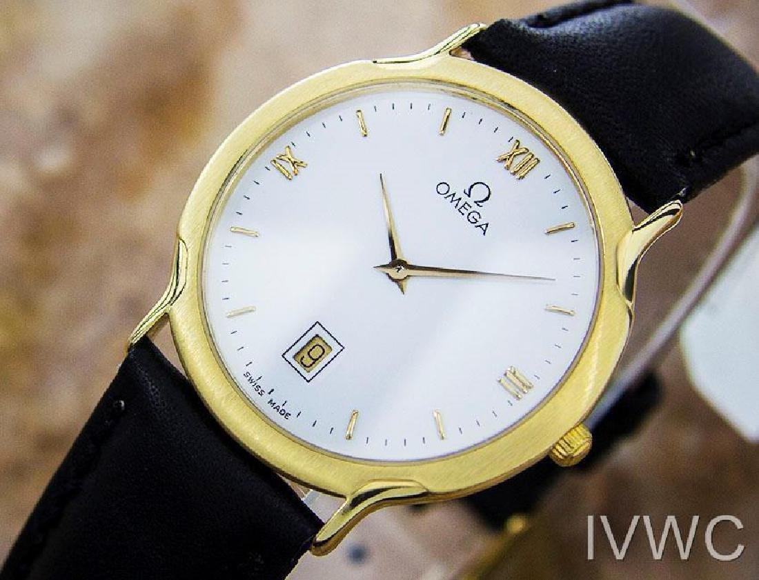 Luxury Omega Deville Quartz Solid 18K Gold Men's Swiss