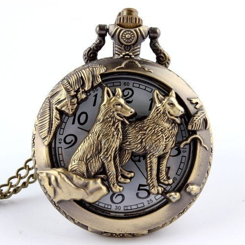 Bronze Wolf Hollow Quartz Pocket Watch