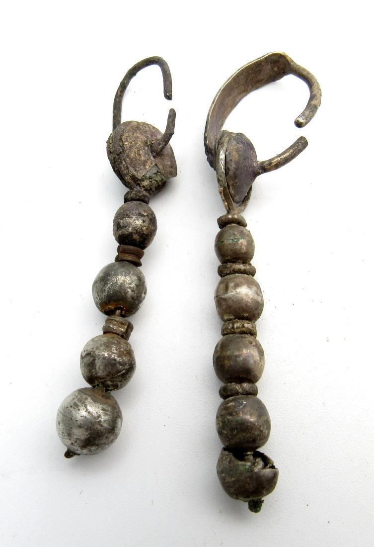 Pair of Medeival Viking Era Silver Decorated Earrings
