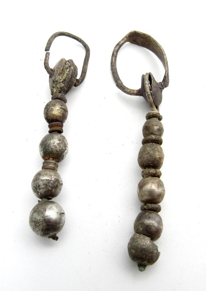 Pair of Medeival Viking Era Silver Decorated Earrings - 2