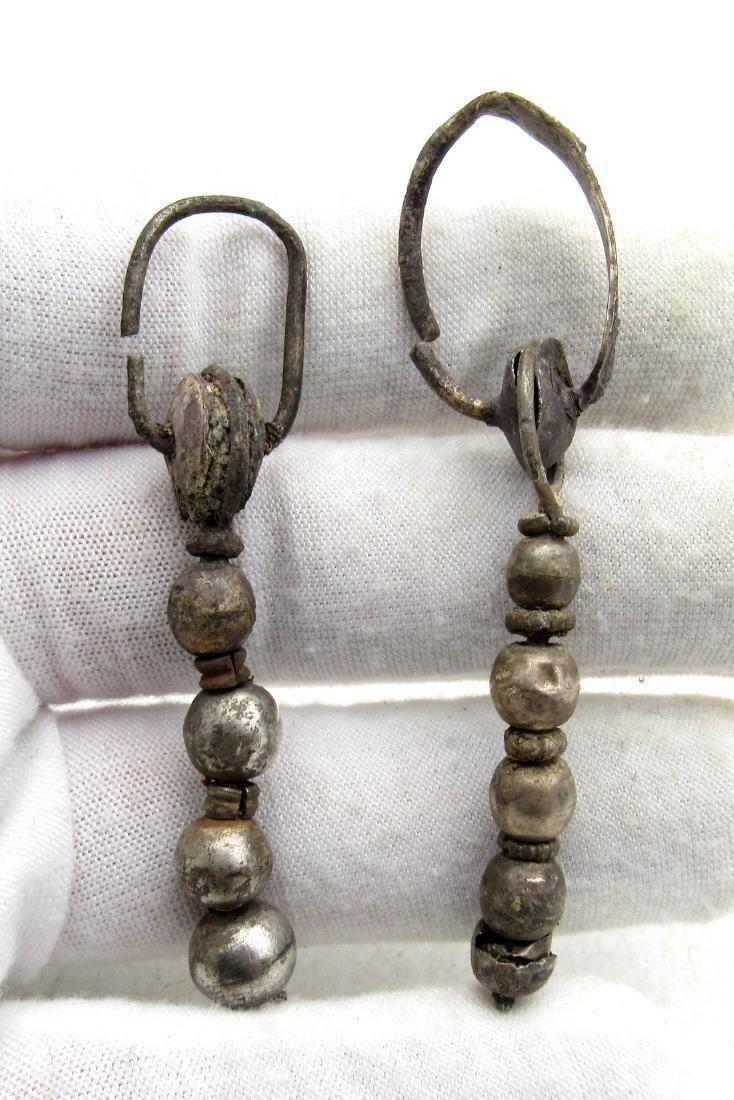 Pair of Medeival Viking Era Silver Decorated Earrings - 3
