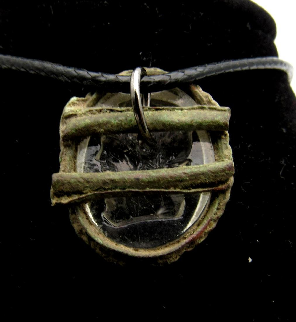Post Medieval Bronze Pendant with Clear Glass Intaglio - 3
