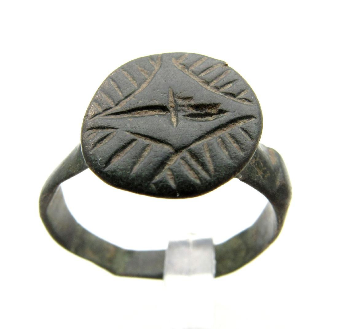 Medieval Crusaders Bronze Ring with Star of Bethlehem