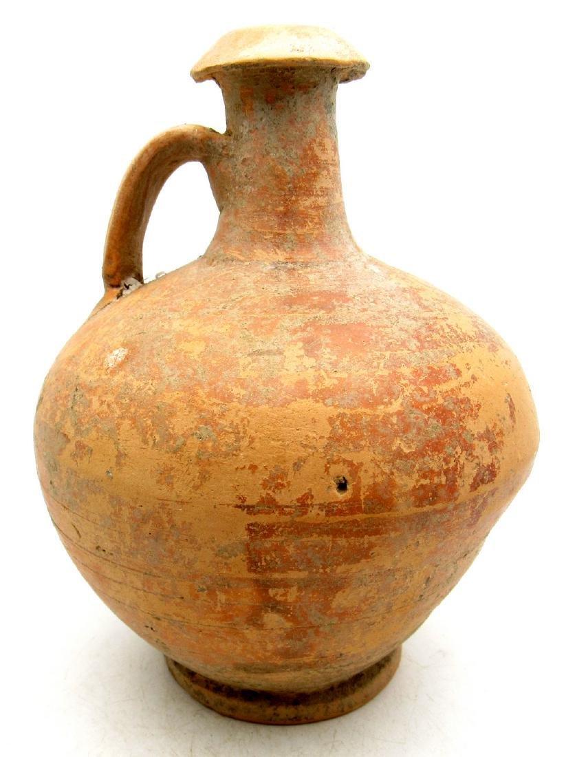 Ancient Roman Terracotta Flagon / Jar with Handle