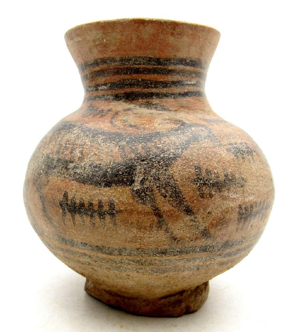 Ancient Indus Valley Terracotta Jar with Deer Motif