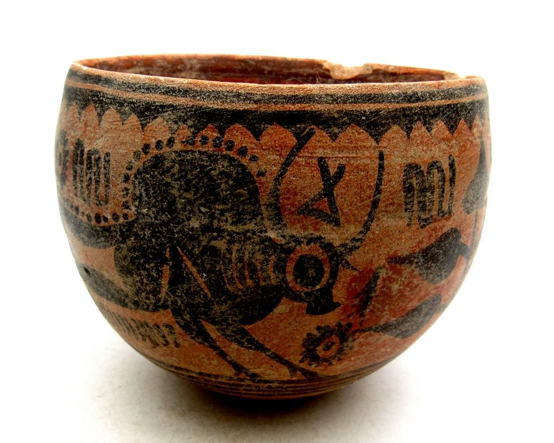 Ancient Indus Valley Terracotta Bowl with Bull Motif - 2