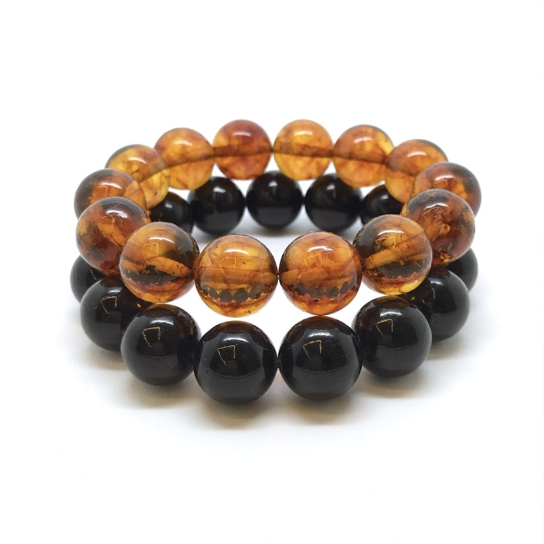 2x bracelets Baltic amber beads ø12.5mm, weight 29.5 gr