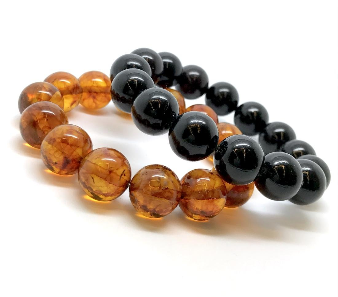 2x bracelets Baltic amber beads ø12.5mm, weight 29.5 gr - 2