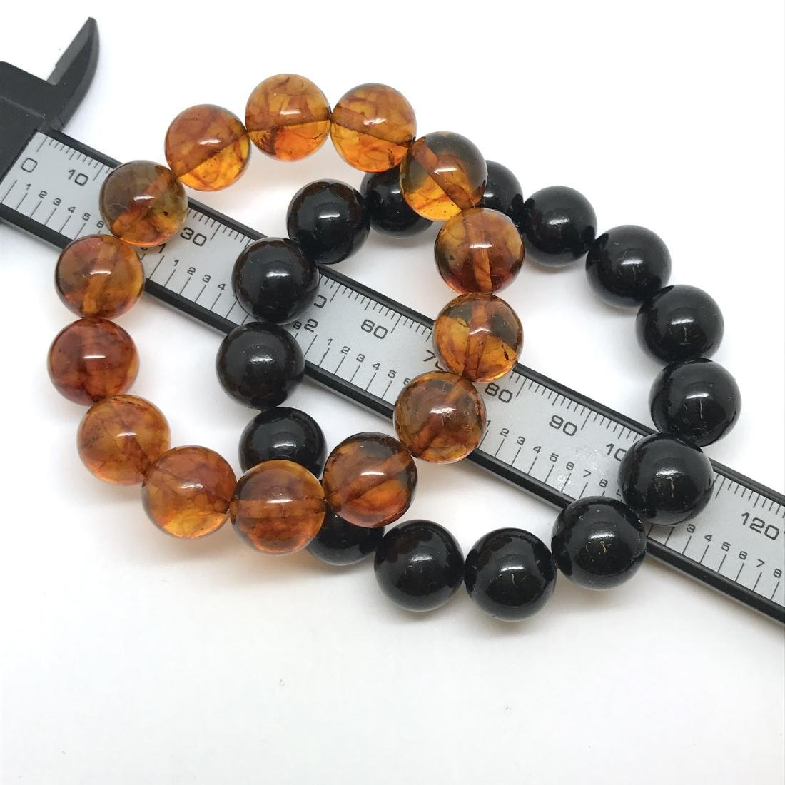 2x bracelets Baltic amber beads ø12.5mm, weight 29.5 gr - 4