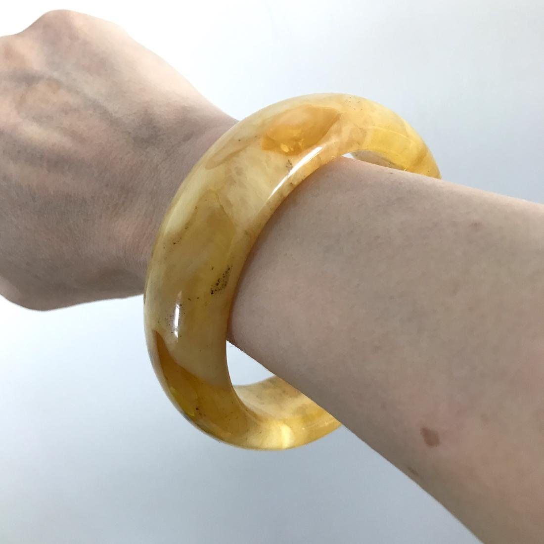 Baltic amber cut bangle bracelet 85x23mm, 49.2 gr - 8