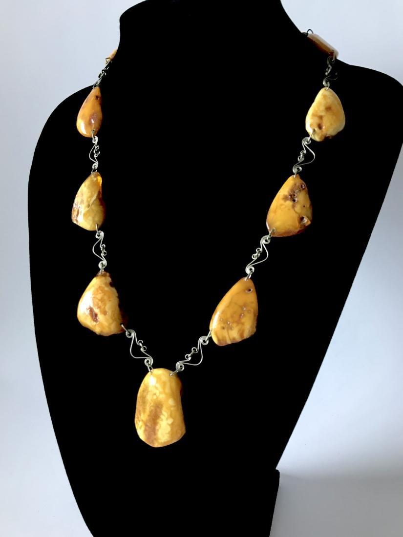 Antique white Baltic amber collar necklace 65cm 40.8 gr