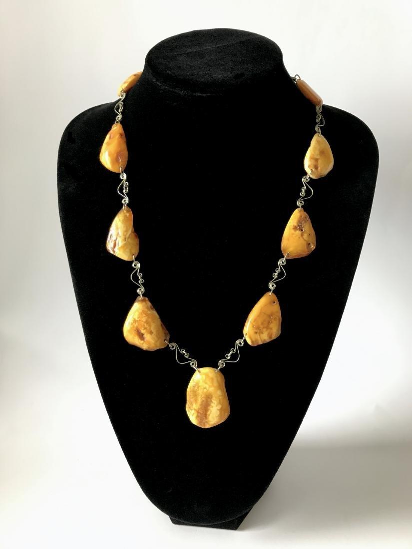 Antique white Baltic amber collar necklace 65cm 40.8 gr - 2