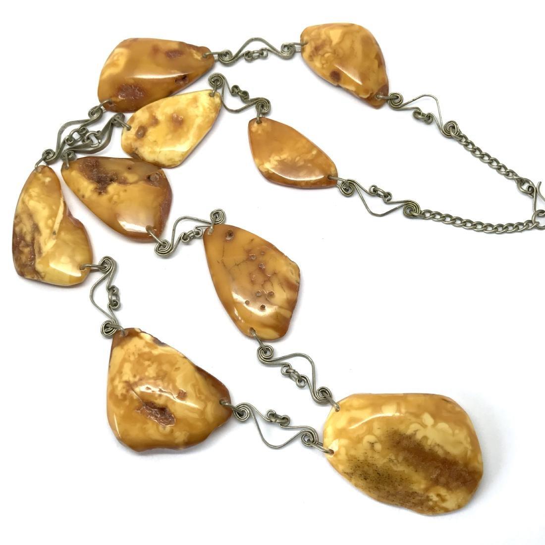 Antique white Baltic amber collar necklace 65cm 40.8 gr - 6