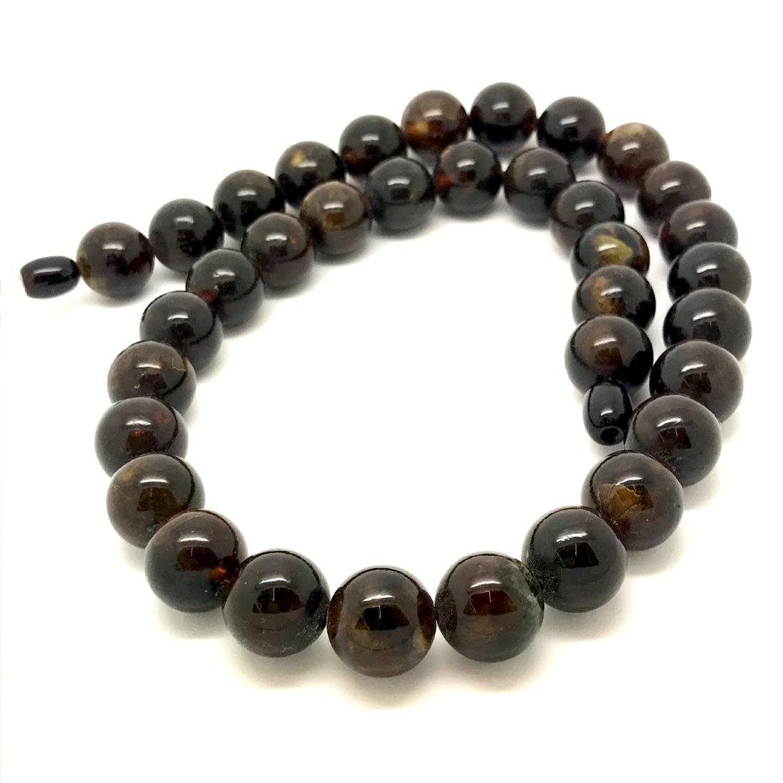 Baltic amber necklace marble beads ø13mm, 47 cm, 43 gr