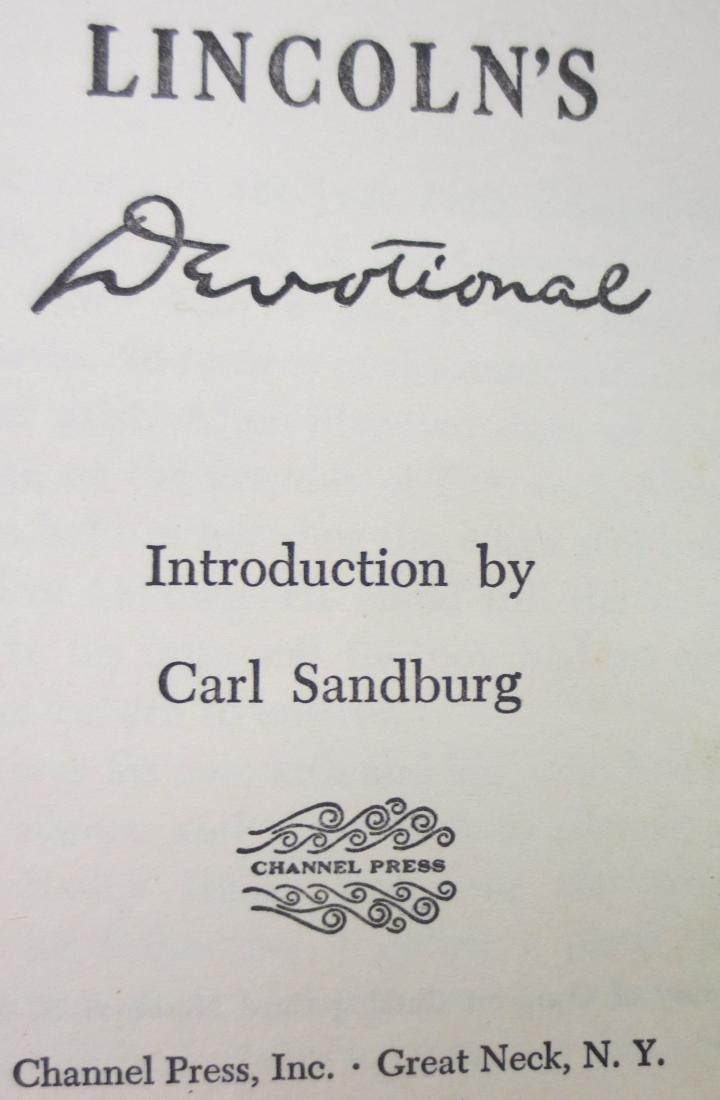 Lincoln's Devotional Carl Sandburg - 2