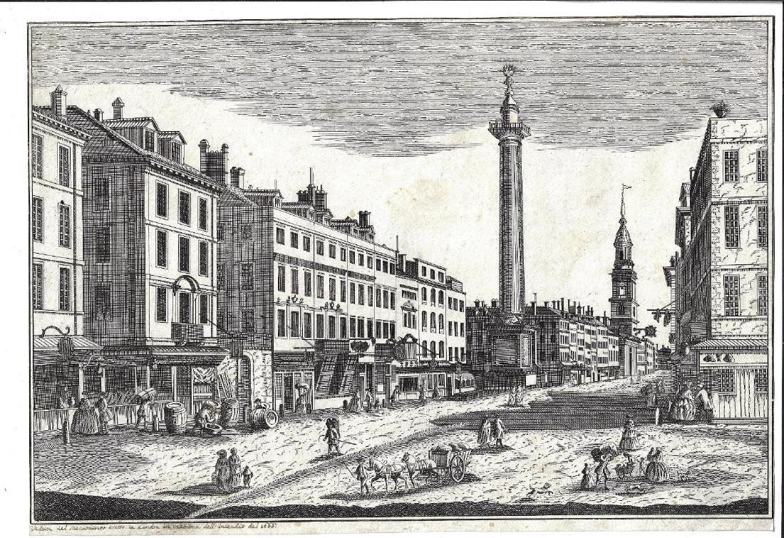 18th C Engraving of London After Great Fire