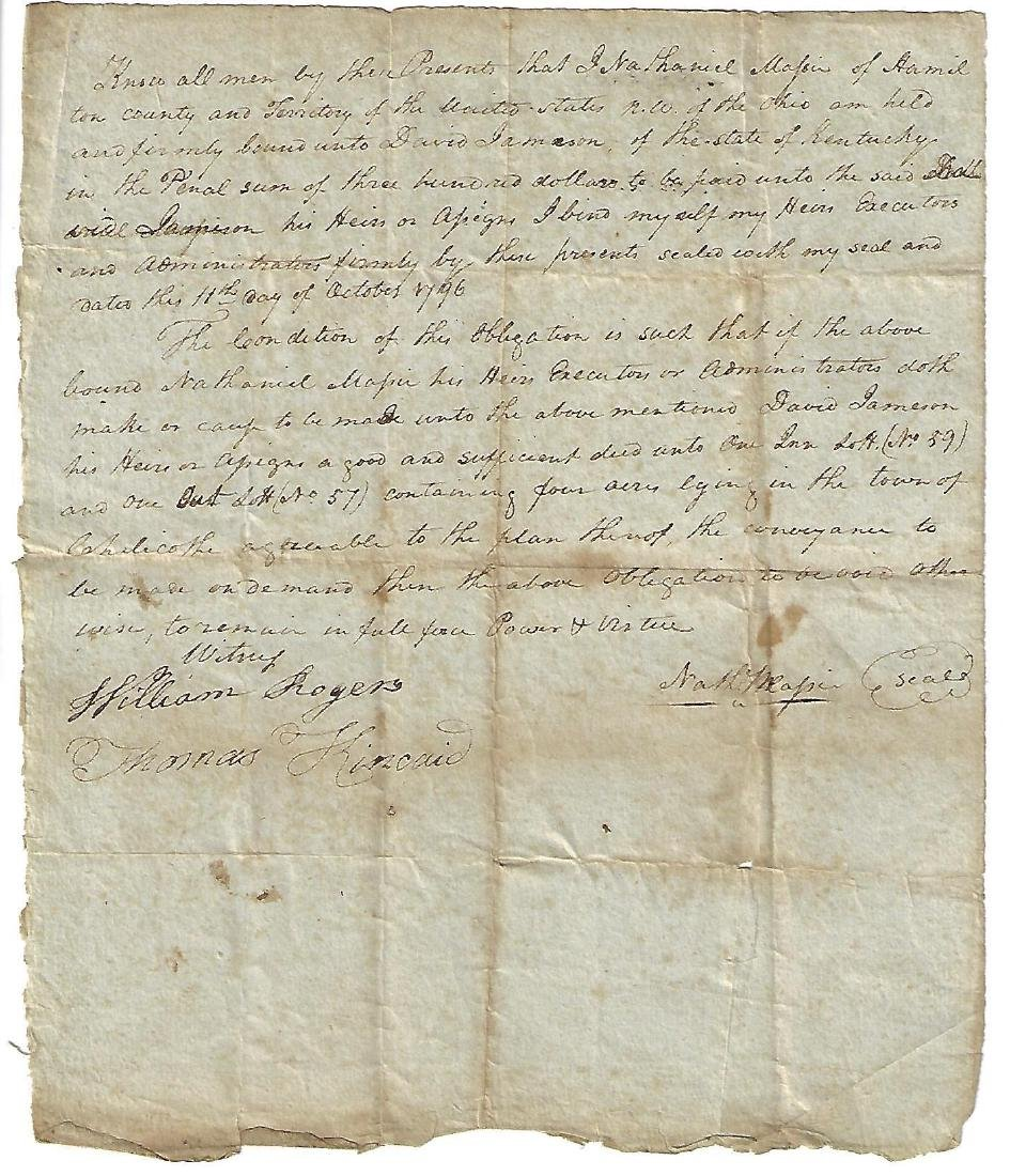 1796 Manuscript Obligation Bond Nathaniel Massie of