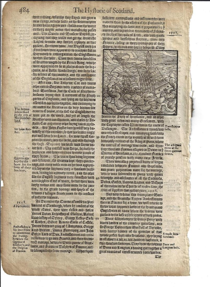 1577 Leaf Holinshed History Woodcut of Shipwreck