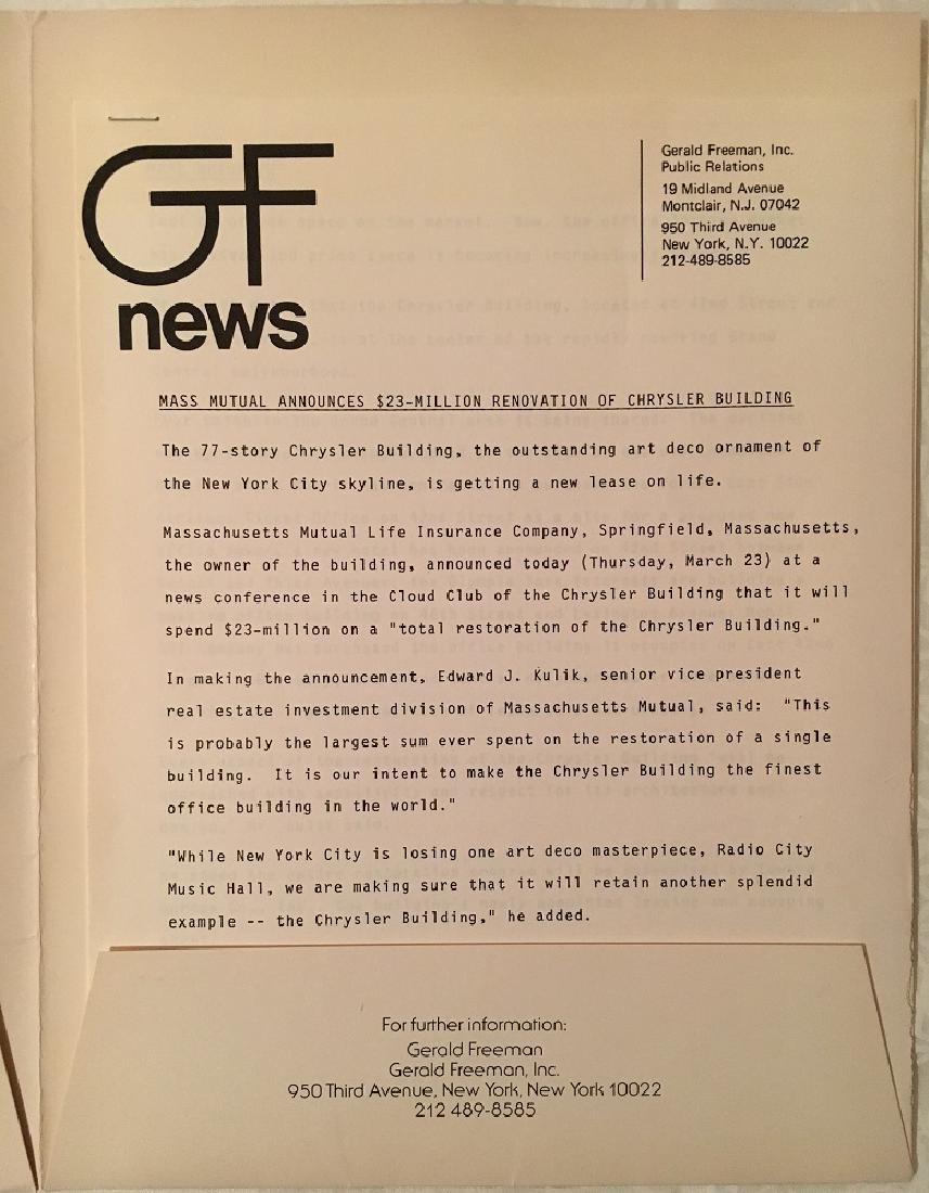 1978 The Chrysler Building Press Information - 3