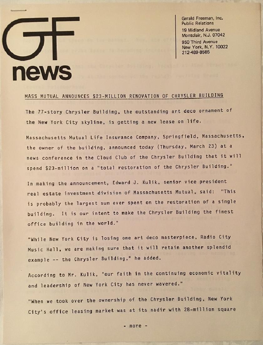 1978 The Chrysler Building Press Information - 4