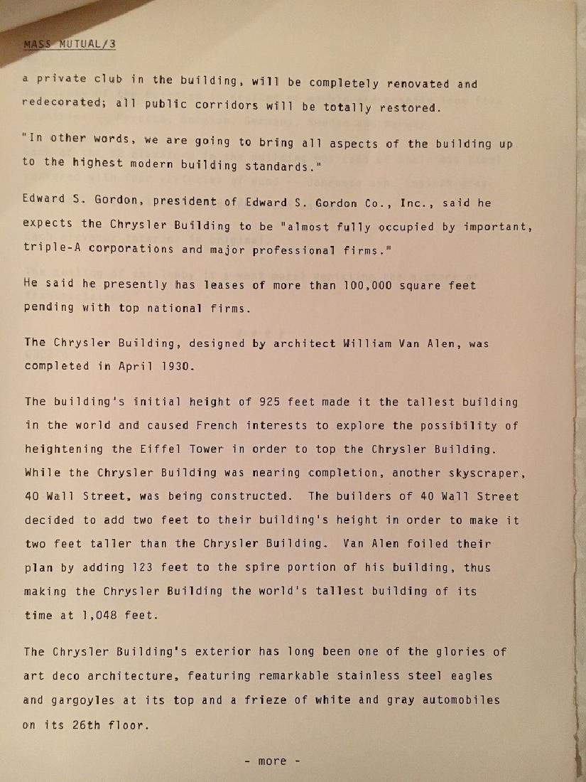1978 The Chrysler Building Press Information - 6