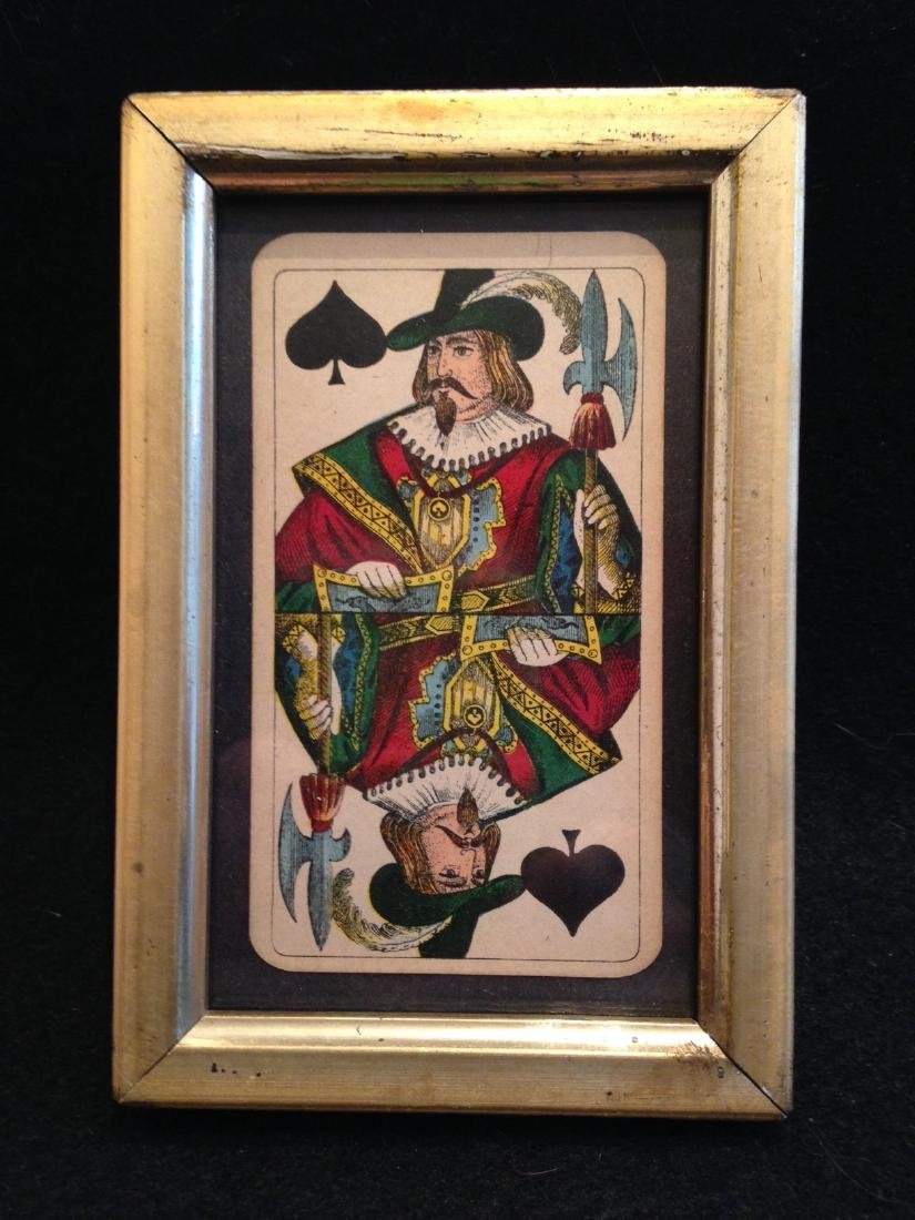 Jack of Spades Playing Card Framed 19th Century