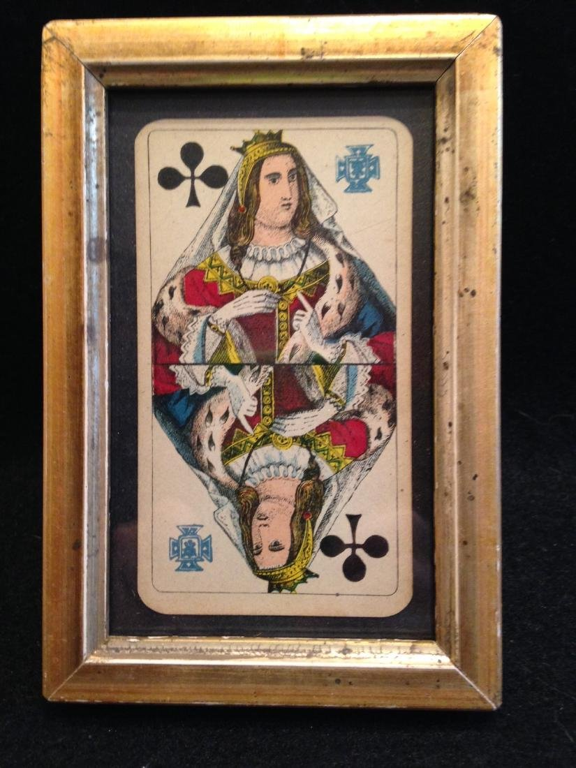 Queen of Clubs Playing Card Framed 19th Century
