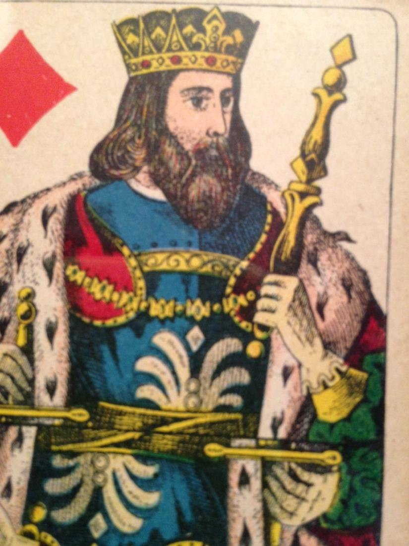 King of Diamonds Playing Card Framed 19th Century - 2