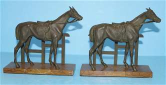 Antique Thoroughbred Horse Cast Iron B&H Bookends
