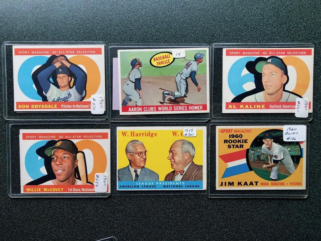 1958 & 1960's Cards: Drysdale - Aaron - Kaline -