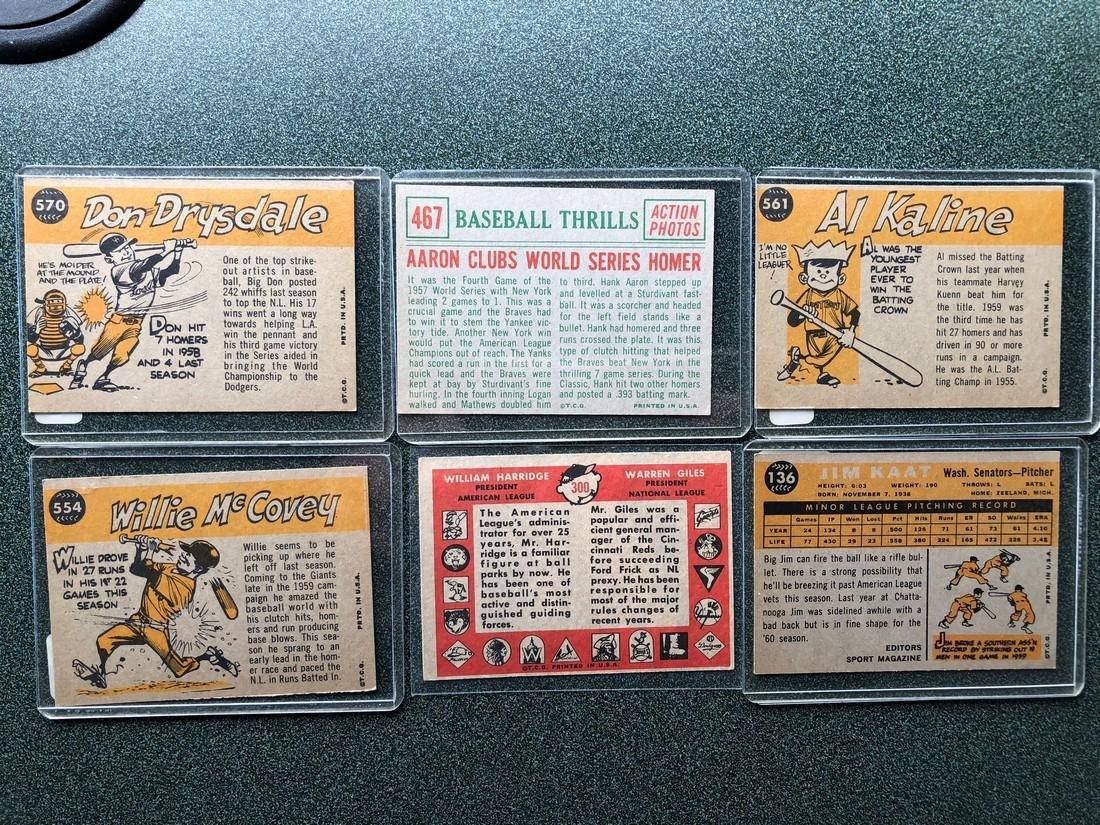 1958 & 1960's Cards: Drysdale - Aaron - Kaline - - 2