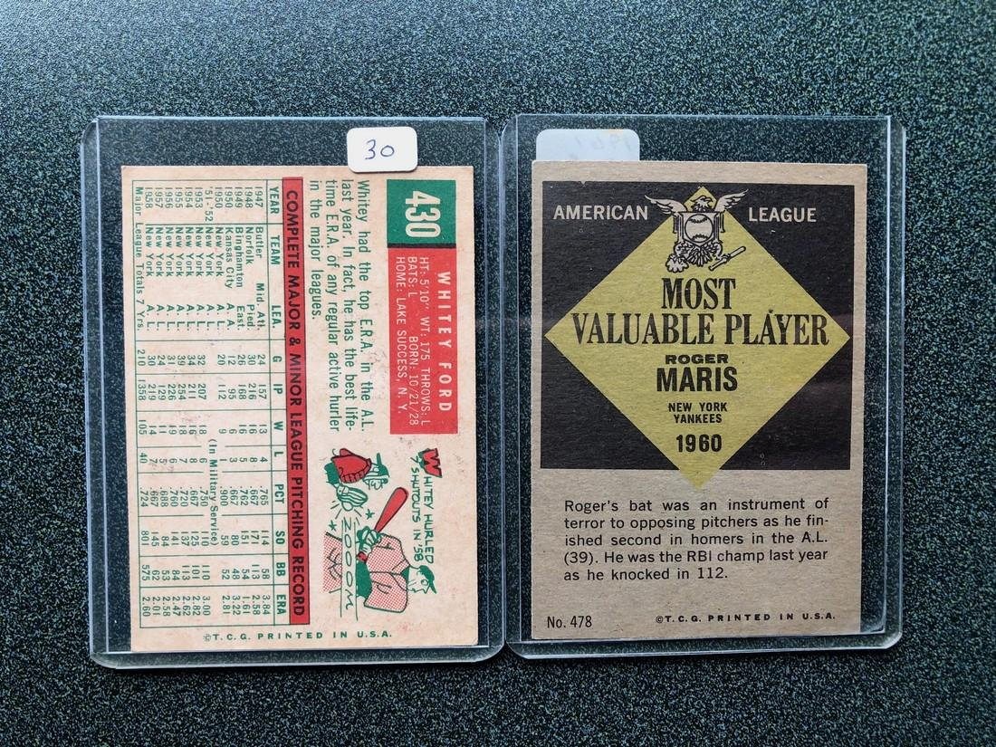 1961 Whitey Ford & Roger Maris Cards - 2