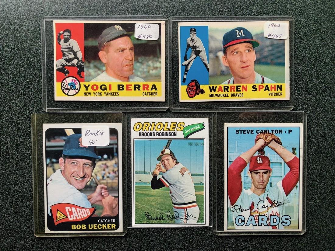 5 Nice Cards: Berra - Spahn - Uecker - Robinson -