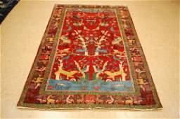 Antique Detailed Tree of Life Persian Bijar Rug 4.3x6.9