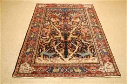 Antique Detailed Tree of Life Persian Bijar Rug 4.3x6.5