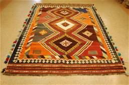 Antique Persian Shiraz Qashkai Kilim Nomadic Rug 5.9x9